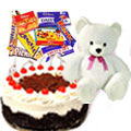 Ambroisal Black Forest Cake with attractive Teddy and toothsome Cadburys Chocolate to Delhi