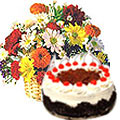 Majestic multi colored Seasonal Flowers along with tasty Black Forest Cake   to Gurgaon