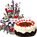 Exotic flowers with 1 Lb Black Forest Cake to Gurgaon