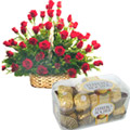 Fantabulous bright Red Roses with favorite Ferrero Rocher Chocolates  to Gurgaon