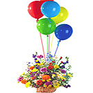 Gorgeous colorful Flower basket with bright Ballons to Gurgaon