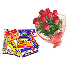 9 Red Roses Bunch with Cadbury Chocolate Celebration Assorted Pack to Gurgaon