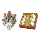6 Red Roses Bunch with Assorted Mithai 500 Gms to Gurgaon