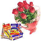 Nine Red Roses Bouquet with Cadburys  Chocolates Celebration Box to Trivandrum