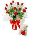 Dozen Red Roses Bouquet with a Small  Cute Teddy Bear to Varanasi