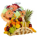 Flowers Decorated 2 Kg. Fresh Fruits Basket  to Rajkot