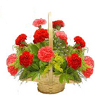 A Dozen Red Carnations in a Basket to Gurgaon