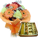 Fresh Flowers Bunch with Mixed Sweets to Gurgaon