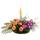 Orchids n Carnations with Candle <br> to Thane