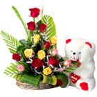 15 Assorted Roses in a Basket with Cute Teddy Bear. to Hyderabad