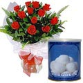 A Dozen Red Roses with Rasgulla to Gurgaon