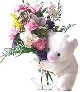 Fresh Exotic Flowers with Cute Teddy Bear to Barrackpore