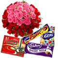 Gorgeous 50 Pink and Red Roses with luscious Cadburys Chocolate to Kumbakonam