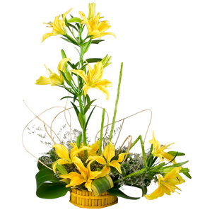 5 Stem Yellow Lilies Arrangement  to Ghaziabad