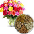 1 Kg. Assorted Dry Fruits with Bouquet of 24 Mixed Colour Roses to Ranchi
