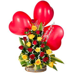 Colorful Roses along with adorable heart Shaped Red Balloons to Chirala