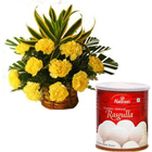1 Kg. Haldiram Rasgulla with 12 Yellow Carnations to Alwar