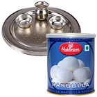 Enticing Haldirams Rasgulla with Silver Plated Puja Thali to Anuparpalayam