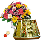 Mixed Flowers Basket with Haldiram Assorted Sweets  to Gurgaon