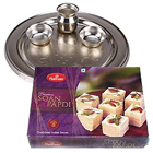 Silver Plated Puja Thali with Haldiram Soan Papdi to Adipur