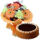 Flowers N Egg less Cake - Midnight Delivery to Ambala