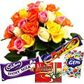 Gorgeous mixed Roses with mouth watering assorted Cadburys Chocolate to India