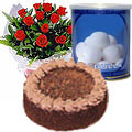 12 Red Roses and Rasgulla with Eggless Cake 1 Kg. to Guwahati