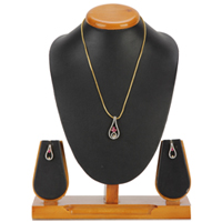 Wonderful Set of Stud and Pendant Emblazed with Faux Diamond and Red Tear Dorp to Cochin
