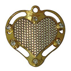 Unique Gold Tone Metal Heart Shaped Pendant with Mesh to Solapur