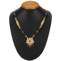 Feminine Gold Toned Metal Mangalsutra with Floral Design to Ambur