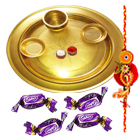 Special Gold Plated Thali with Eclairs Chocolates and 1 Free Rakhi with Roli Chawal to India