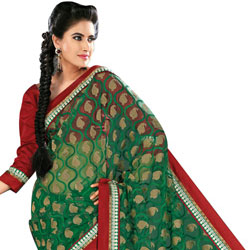 Amazing Green Net Saree to Lucknow