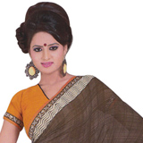 Amazing Dark Brown and Mustard Faux Georgette Saree to Ghaziabad