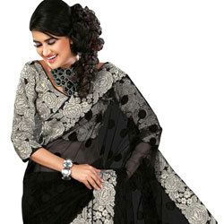Amazing Black colored Printed Net Saree  to Amroha