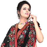 Marvelous Black and Red Printed Chiffon Saree to Purulia