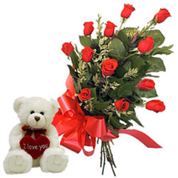 12 Red Roses Bunch with a small teddy bear to Guwahati