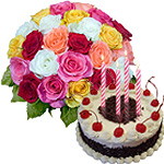 Black Forest Cake From Taj / 5 Star Bakes with Mixed Roses to Guwahati