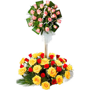 Blushing Mixed Roses in 2 Tier Arrangement to Adilabad