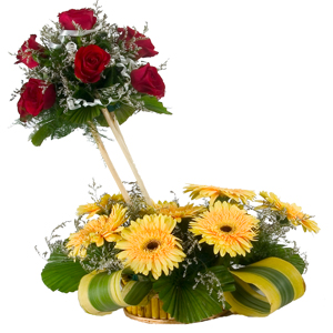 7 Roses and 8 Gerberas Designer Arrangement to Bhimavaram