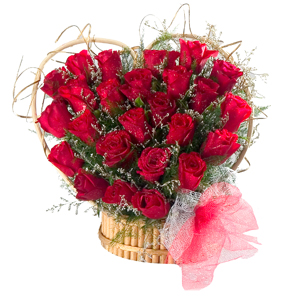 24 Red Roses Heart Shaped Arrangement to India