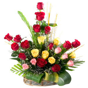 24 Mixed Roses Arrangement to Bijnor