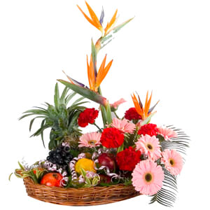 Tempting fresh Fruits with nice gorgeous multi Flowers  to India