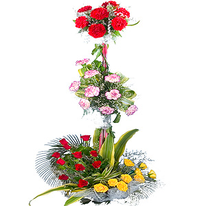 Assorted Flowers 3 Tier Arrangement to Amravati