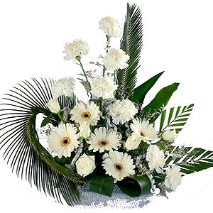 White Flowers Arrangement to Mhow