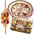 An Exclusive Rakhi Gift with Ferreo Rocher Chocolates Pack along with Special Pooja Thali with Free Rakhi, Roli Tilak and Chawal  to India