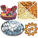 Big Hamper of Kaju Katli, Dry Fruits, Crackers and Diya to Gurgaon
