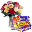 Roses Bunch with Chocolates to India