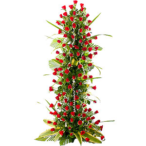 100 Red Roses Arrangement 3 - 4 ft High to Bangalore