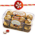 Ferrero Rocher Chocolates(24 Pcs) with 2  Free Rakhi, Roli Tilak and Chawal to India