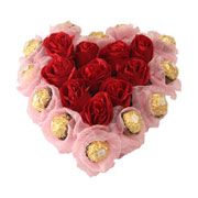 Long Lasting � Heart Shaped Arrangement of Red Roses n Ferrero Rochers  to Bhavani